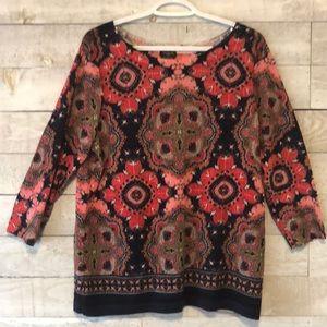 Talbots merino wool paisley sweater